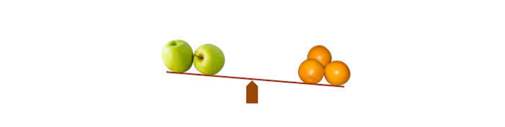 Apples and oranges on a scale