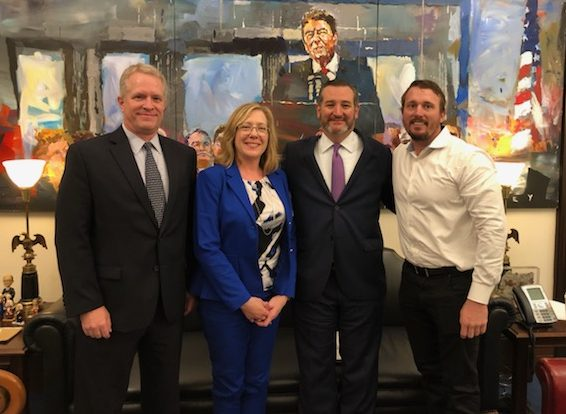 EPI Board Member Chris Weidenhammer, President Tracey B. Kirsch, Senator Ted Cruz, and Medal of Honor Recipient Dakota Meyer
