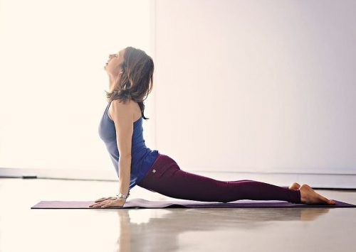 A woman does yoga